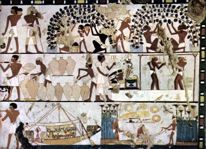 Fresque-égyptienne-1500-avant-J-C-Thèbes-Chambre-funéraire-dun-inconnu