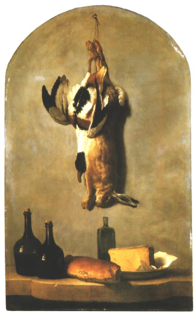 Jean-Baptiste_Oudry_-_Still_Life_with_Hare,_Duck,_Loaf_of_Bread,_Cheese_and_Flasks_of_Wine