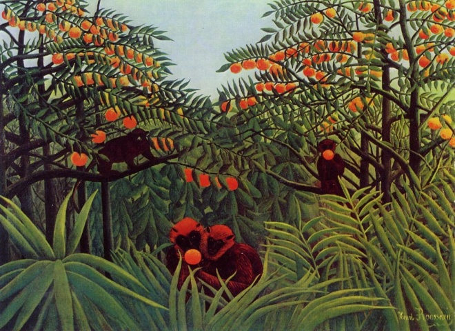 Henri Julien F_lix Rousseau - Apes in the Orange Grove
