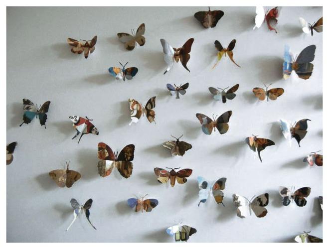 Découpages et assemblages de papillons à partir de tableaux et photographies Collection privée