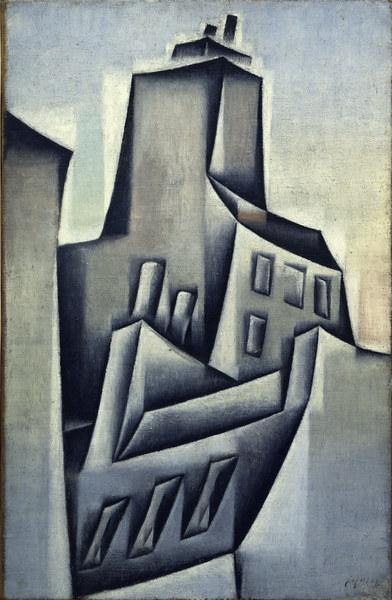 3FK-G41-B1 Juan Gris, Haeuser in Paris/ 1911 Gris, Juan 1887-1927. 'Haeuser in Paris', 1911. Oel auf Leinwand, 52,4 x 34,2 cm. New York, Solomon R. Guggenheim Museum. E: Juan Gris / Houses in Paris / 1911 Gris, Juan 1887-1927. 'Houses in Paris', 1911. Oil on canvas, 52.4 x 34.2cm. New York, Solomon R. Guggenheim Museum. F: Gris, Juan , 1887-1927. Gris, Juan , 1887-1927. - 'Maisons a Paris', 1911. Huile sur toile, H. 0,524 , L. 0,342. New York, Solomon R. Guggenheim Museum.