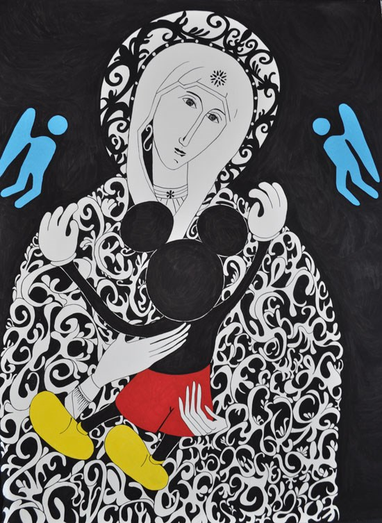 le-quart-dheure-de-calin-zedblek-artiste-contemporain-francais-contemporary-artist-art-drawing-painter-peintre-dessinateur-image-icone-warhol-mickey-mouse-sainte-marie-humour
