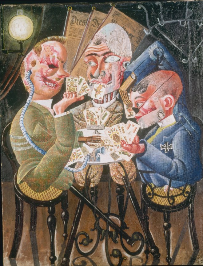 "Otto Dix, German, 1891-1969 Skat Players (Die Skatspieler) (later titled Card-Playing War Cripples [Kartenspielende Kriegskrüppel]). 1920 Oil on canvas with photomontage and collage, 43 5/16 x 34 1/4"" (110 x 87 cm) Staatliche Museen zu Berlin, Nationalgalerie © 2006 Nationalgalerie. Staatliche Museen zu Berlin-Preussischer Kulturbesitz"