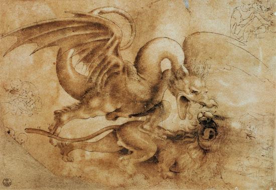 le-combat-dun-dragon-et-dun-lion-lc3a9onard-de-vinci-xvie-s-galerie-des-offices-florence-italie